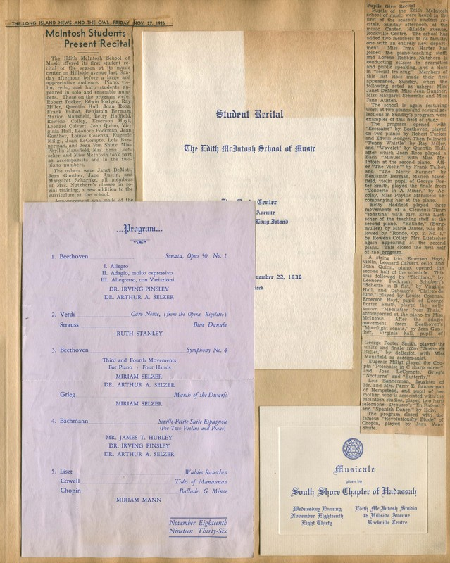 Invitation and Program for Musicale by the South Shore Chapter of Hadassah, Program for Student Recital, Newspaper Clippings