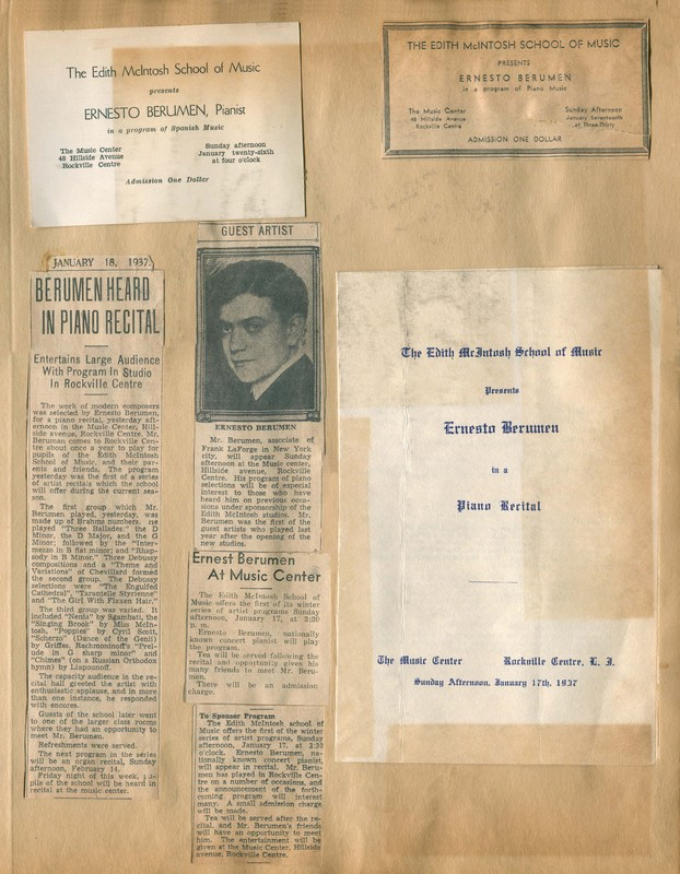 Program and Invitation for Ernesteo Berumen Recital, Newspaper Clippings