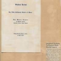 Program for Student Recital at the Music Center, Newspaper Clipping