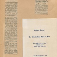 Program for Student Recital at the Music Center, Newspaper Clippings